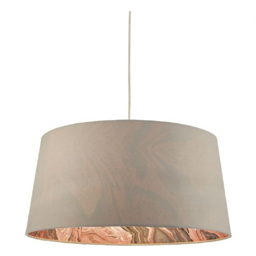 Dolores Easy Fit Pendant Faux Silk Grey DOL6539